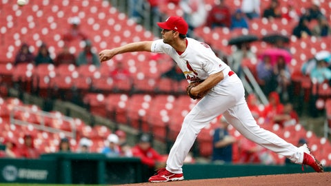 <p>               St. Louis Cardinals starting pitcher Adam Wainwright throws during the first inning of a baseball game against the Milwaukee Brewers Wednesday, April 24, 2019, in St. Louis. (AP Photo/Jeff Roberson)             </p>