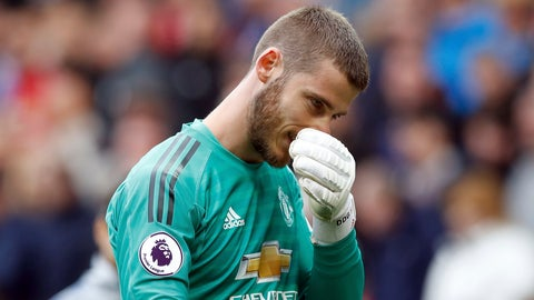 <p>               Manchester United goalkeeper David de Gea appears dejected after their English Premier League soccer match against Chelsea at Old Trafford, Manchester, England, Sunday, April 28, 2019. The game ended in a 1-1 draw. (Martin Rickett/PA via AP)             </p>