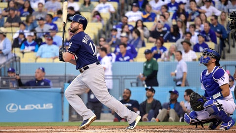 <p>               Milwaukee Brewers' Mike Moustakas watches his solo home run next to Los Angeles Dodgers catcher Austin Barnes during the second inning of a baseball game Saturday, April 13, 2019, in Los Angeles. (AP Photo/Mark J. Terrill)             </p>