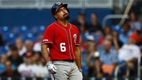 <p>               Washington Nationals' Anthony Rendon (6) reacts to being hit by the ball by Miami Marlins starting pitcher Jose Urena (62) during the third inning of a baseball game against the on Saturday, April 20, 2019, in Miami. (AP Photo/Brynn Anderson)             </p>
