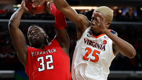 <p>               Texas Tech's Norense Odiase (32) shoots against Virginia's Mamadi Diakite (25) during the second half in the championship of the Final Four NCAA college basketball tournament, Monday, April 8, 2019, in Minneapolis. (AP Photo/Jeff Roberson)             </p>