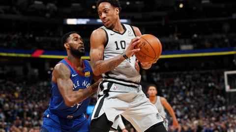 <p>               Denver Nuggets guard Will Barton, left, defends against San Antonio Spurs guard DeMar DeRozan during the first half of Game 1 of an NBA first-round basketball playoff series Saturday, April 13, 2019, in Denver. (AP Photo/David Zalubowski)             </p>
