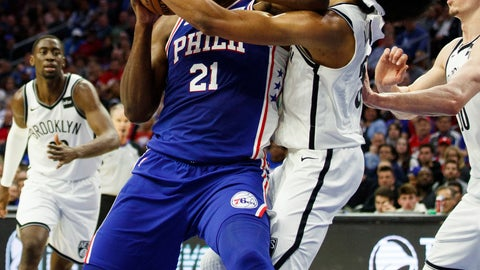 <p>               Philadelphia 76ers' Joel Embiid, left, of Cameroon, with the flaguant 1 foul on Brooklyn Nets' Jarrett Allen, right, as he was going for the shot during the first half in Game 2 of a first-round NBA basketball playoff series, Monday, April 15, 2019, in Philadelphia. (AP Photo/Chris Szagola)             </p>