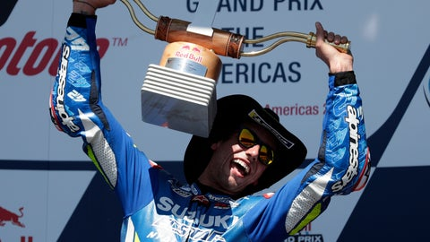 <p>               CORRECTS TO RINS OF SPAIN NOT AUSTRALIA = Alex Rins, of Spain, celebrates with his trophy after winning the Grand Prix of the Americas motorcycle race at the Circuit of the Americas, Sunday, April 14, 2019, in Austin, Texas. (AP Photo/Eric Gay)             </p>