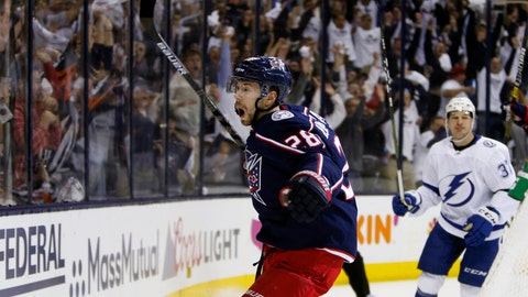 <p>               Columbus Blue Jackets' Oliver Bjorkstrand, of Denmark, celebrates his goal against the Tampa Bay Lightning during the second period of Game 4 of an NHL hockey first-round playoff series, Tuesday, April 16, 2019, in Columbus, Ohio. (AP Photo/Jay LaPrete)             </p>