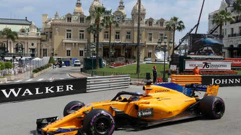 <p>               FILE - In this May 24, 2018, file photo, McLaren driver Fernando Alonso of Spain steers his car past the casino during the second practice session for the Monaco Formula One Grand Prix at the Monaco racetrack, in Monaco. McLaren will put a car on track at Indianapolis Motor Speedway for the first time since 1976 when Fernando Alonso tests Wednesday, April 24, 2019. Alonso is trying to win motorsports version of the Triple Crown, while the famed manufacturer is considering a return to IndyCar competition.  (AP Photo/Claude Paris, File)             </p>