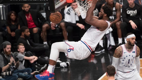 <p>               Philadelphia 76ers center Joel Embiid dunks during the second half of Game 4 of a first-round NBA basketball playoff series against the Brooklyn Nets, Saturday, April 20, 2019, in New York. (AP Photo/Mary Altaffer)             </p>