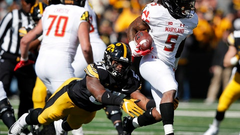 <p>               FILE - In this Saturday, Oct. 20, 2018, file photo, Maryland running back Anthony McFarland (5) is tackled by Iowa defensive end Chauncey Golston (57) during the second half of an NCAA college football game, in Iowa City, Iowa. McFarland started only five games as a freshman, yet still managed to top the 1,000-yard mark. He raised eyebrows around the Big Ten after running for 298 yards against Ohio State. Now he's poised to become one of the league's dominant backs. (AP Photo/Charlie Neibergall, File)             </p>