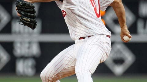 <p>               Philadelphia Phillies starting pitcher Aaron Nola throws during the first inning of the team's baseball game against the Washington Nationals, Tuesday, April 9, 2019, in Philadelphia. (AP Photo/Chris Szagola)             </p>
