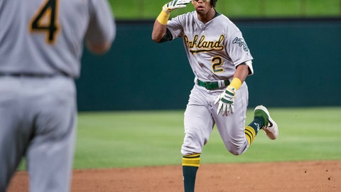 <p>               Oakland Athletics' Khris Davis (2) salutes third base coach Matt Williams (4) as he nears third on a solo home run off Texas Rangers relief pitcher Chris Martin during the eighth inning of a baseball game Friday, April 12, 2019, in Arlington, Texas. Oakland won 8-6. (AP Photo/Jeffrey McWhorter)             </p>