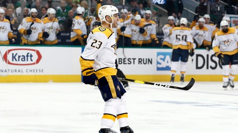 <p>               Nashville Predators center Rocco Grimaldi (23) celebrates his goal against the Dallas Stars in the second period of Game 3 in an NHL hockey first-round playoff series in Dallas, Monday, April 15, 2019. (AP Photo/Tony Gutierrez)             </p>