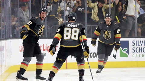 <p>               Vegas Golden Knights right wing Mark Stone, left, celebrates after scoring against the San Jose Sharks during the first period of Game 3 of an NHL first-round hockey playoff series game, Sunday, April 14, 2019, in Las Vegas. (AP Photo/Isaac Brekken)             </p>