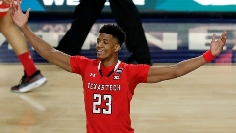 <p>               Texas Tech's Jarrett Culver (23) celebrates after defeating Michigan State 61-51 in the second half in the semifinals of the Final Four NCAA college basketball tournament, Saturday, April 6, 2019, in Minneapolis. (AP Photo/Matt York)             </p>