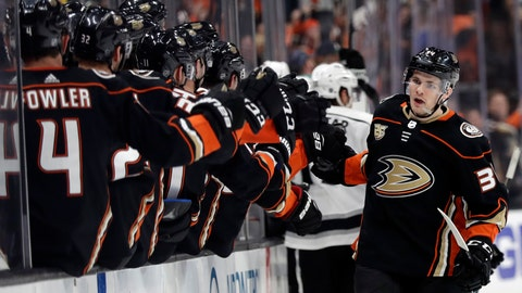 <p>               Anaheim Ducks' Sam Steel, right, celebrates his goal with teammates during the third period of an NHL hockey game against the Los Angeles Kings on Friday, April 5, 2019, in Anaheim, Calif. (AP Photo/Marcio Jose Sanchez)             </p>