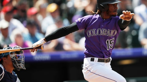 <p>               Colorado Rockies' Raimel Tapia follows the flight of his double to drive in three runs against the Washington Nationals in the third inning of a baseball game Wednesday, April 24, 2019, in Denver. (AP Photo/David Zalubowski)             </p>