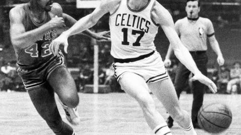 <p>               FILE - In this Jan. 8, 1970 file photo, Boston Celtics' John Havlicek (17) protects ball with his body from Atlanta Hawks' Walt Hazzard (42) during an NBA basketball game in Boston.  The Boston Celtics say Hall of Famer John Havlicek, whose steal of Hal Green's inbounds pass in the final seconds of the 1965 Eastern Conference finals against the Philadelphia 76ers remains one of the most famous plays in NBA history, has died. The team says Havlicek died Thursday, April 25, 2019 at age 79. (AP Photo/File)             </p>