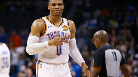 <p>               Oklahoma City Thunder guard Russell Westbrook (0) gestures to the crowd in the second half of an NBA basketball game against the Los Angeles Lakers, Tuesday, April 2, 2019, in Oklahoma City. Westbrook became just the second player in NBA history to have 20 points, 20 rebounds and 20 assists in a game as the Oklahoma City Thunder defeated the Los Angeles Lakers 119-103. (AP Photo/Sue Ogrocki)             </p>