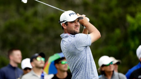 <p>               Corey Conners watches his drive on the third hole during the final round of the Texas Open golf tournament, Sunday, April 7, 2019, in San Antonio. (AP Photo/Eric Gay)             </p>