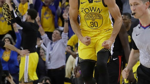 <p>               Golden State Warriors guard Stephen Curry (30) celebrates after scoring against the Los Angeles Clippers during the first half of Game 2 of a first-round NBA basketball playoff series in Oakland, Calif., Monday, April 15, 2019. (AP Photo/Jeff Chiu)             </p>