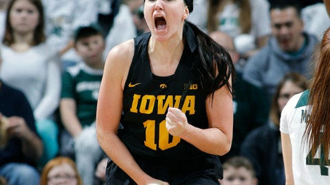<p>               FILE - In this Dec. 30, 2018, file photo, Iowa's Megan Gustafson (10) reacts against Michigan State during an NCAA college basketball game, in East Lansing, Mich. Gustafson, who averaged a Division I-best 28 points while also ranking second in rebounding, was selected to The Associated Press women's All-America first team, Monday, April 1, 2019. (AP Photo/Al Goldis, File)             </p>