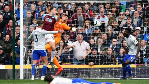 <p>               Cardiff City goalkeeper Neil Etheridge drops the ball under pressure from Burnley's Ashley Barnes during the English Premier League soccer match between Burnley and Cardiff Ciry at Turf Moor, IN Burnley, England, Saturday, April 13, 2019. (Anthony Devlin/PA via AP)             </p>