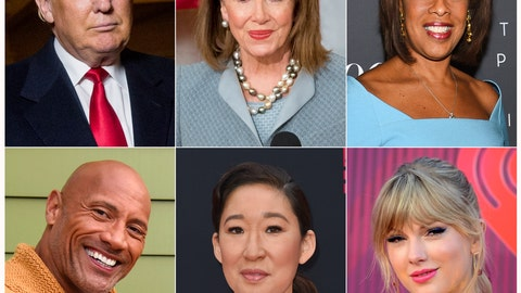 """<p>               This combination photo shows President Donald Trump, top row from left, House Speaker Nancy Pelosi, CBS News' Gayle King, bottom row from left, actor-producer Dwayne Johnson, actress Sandra Oh and singer Taylor Swift are among the people honored in  Time's """"100 Most Influential People in the World"""" issue. (AP Photo)             </p>"""