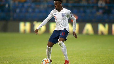 <p>               England's Callum Hudson-Odoi dribbles with the ball in his first match for the team during the Euro 2020 group A qualifying soccer match between Montenegro and England at the City Stadium in Podgorica, Montenegro, Monday, March 25, 2019. (AP Photo/Darko Vojinovic)             </p>