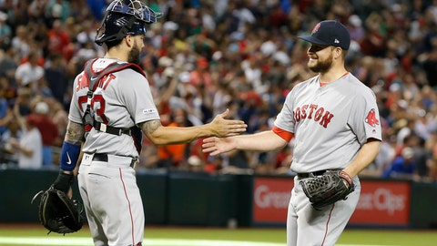<p>               Boston Red Sox pitcher Ryan Brasier and Blake Swihart (23) celebrate after defeating the Arizona Diamondbacks 1-0 during a baseball game, Sunday, April 7, 2019, in Phoenix. (AP Photo/Rick Scuteri)             </p>