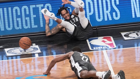 <p>               Brooklyn Nets guard D'Angelo Russell, top, and guard Caris LeVert (22) fall on the court during the second half of Game 4 of a first-round NBA basketball playoff series against the Philadelphia 76ers, Saturday, April 20, 2019, in New York. (AP Photo/Mary Altaffer)             </p>