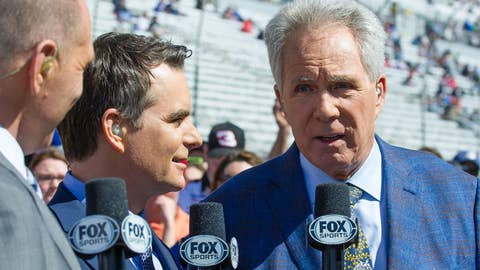 ATLANTA, GA - FEBRUARY 24:  Hall of Famers Darrell Waltrip and Jeff Gordon before the Folds of Honor QuikTrip 500 Monster Energy NASCAR Cup Series race on February 24, 2019 at the Atlanta Motor Speedway in Hampton, GA. (Photo by John Adams/Icon Sportswire via Getty Images)