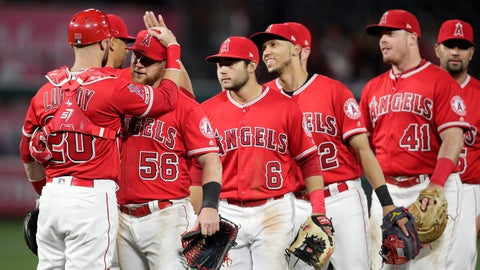 <p>               Los Angeles Angels players celebrate the team's 4-2 win over the Milwaukee Brewers in a baseball game Wednesday, April 10, 2019, in Anaheim, Calif. (AP Photo/Jae C. Hong)             </p>