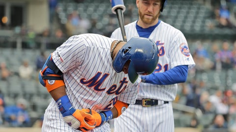 <p>               New York Mets' Robinson Cano, left, reacts after being hit by a pitch during the first inning of the MLB baseball game against the Milwaukee Brewers at Citi Field, Sunday, April 28, 2019, in New York. (AP Photo/Seth Wenig)             </p>
