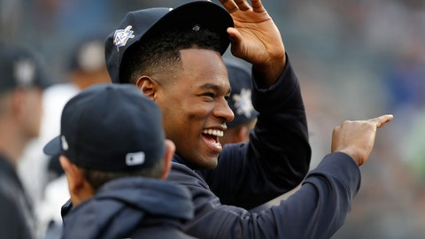 <p>               Injured New York Yankees pitcher Luis Severino smiles as he watches the first inning of the team's baseball game against the Boston Red Sox on Tuesday, April 16, 2019, in New York. (AP Photo/Kathy Willens)             </p>