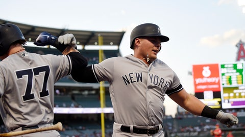 <p>               New York Yankees' Luke Voit, right, celebrates with Clint Frazier after hitting a solo home run during the first inning of a baseball game against the Los Angeles Angels, Monday, April 22, 2019, in Anaheim, Calif. (AP Photo/Mark J. Terrill)             </p>