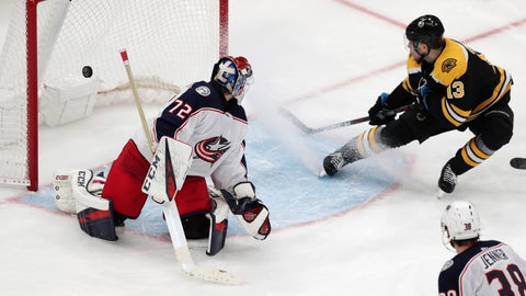<p>               Boston Bruins center Charlie Coyle (13) beats Columbus Blue Jackets goaltender Sergei Bobrovsky (72) for the game-winning goal during overtime of Game 1 of an NHL hockey second-round playoff series, Thursday, April 25, 2019, in Boston. The Bruins won 3-2. (AP Photo/Charles Krupa)             </p>