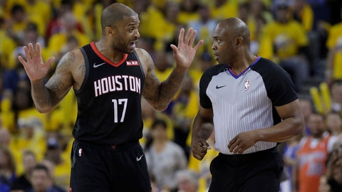 <p>               Houston Rockets forward PJ Tucker (17) gestures while talking to referee Courtney Kirkland during the second half of Game 1 of a second-round NBA basketball playoff series between the Golden State Warriors and the Rockets in Oakland, Calif., Sunday, April 28, 2019. (AP Photo/Jeff Chiu)             </p>