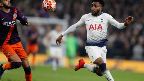 <p>               Manchester City's Riyad Mahrez, left, challenges for the ball with Tottenham's Danny Rose during the Champions League, round of 8, first-leg soccer match between Tottenham Hotspur and Manchester City at the Tottenham Hotspur stadium in London, Tuesday, April 9, 2019. (AP Photo/Frank Augstein)             </p>
