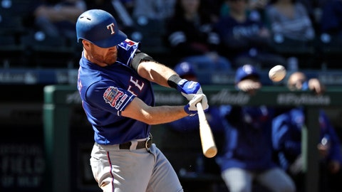 <p>               Texas Rangers' Logan Forsythe connects on a three-run home run against the Seattle Mariners in the eighth inning of a baseball game Sunday, April 28, 2019, in Seattle. (AP Photo/Elaine Thompson)             </p>