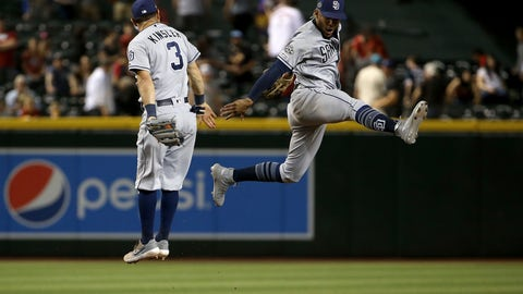 <p>               San Diego Padres shortstop Fernando Tatis Jr., right, celebrates a win against the Arizona Diamondbacks with second baseman Ian Kinsler (3) after a baseball game Saturday, April 13, 2019, in Phoenix. The Padres won 5-4. (AP Photo/Ross D. Franklin)             </p>