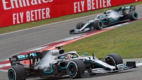 <p>               Mercedes driver Lewis Hamilton of Britain steers his car ahead of his teammate Valtteri Bottas of Finland during the Chinese Formula One Grand Prix at the Shanghai International Circuit in Shanghai, Sunday, April 14, 2019. (AP Photo/Andy Wong)             </p>
