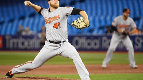<p>               Baltimore Orioles starting pitcher David Hess (41) works against the Toronto Blue Jays during first-inning baseball game action in Toronto, Monday, April 1, 2019. (Nathan Denette/The Canadian Press via AP)             </p>