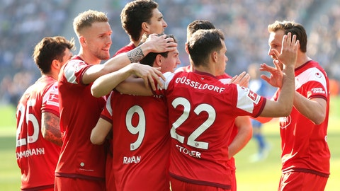 <p>               Duesseldorf's team celebrates during the Bundesliga soccer match between Hertha BSC Berlin and Fortuna Duesseldorf in Berlin, Germany, Saturday, April 6, 2019.  (Andreas Gora/dpa via AP)             </p>