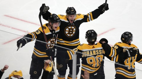 <p>               Boston Bruins center Charlie Coyle, center, celebrates with teammates after his game-winning goal off Columbus Blue Jackets goaltender Sergei Bobrovsky during overtime of Game 1 of an NHL hockey second-round playoff series, Thursday, April 25, 2019, in Boston. The Bruins won 3-2. (AP Photo/Charles Krupa)             </p>