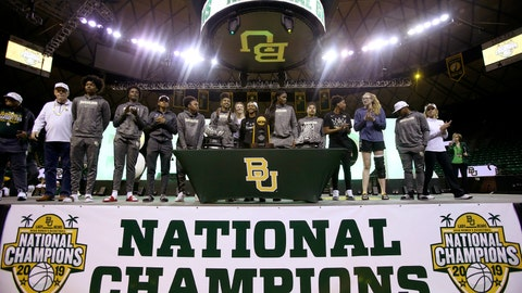 <p>               Baylor players are welcomed home inside the Ferrell Center, Monday, April 8, 2019, in Waco, Texas, as the NCAA Division I Women's basketball champions. (Jerry Larson/ Waco Tribune Herald via AP)             </p>