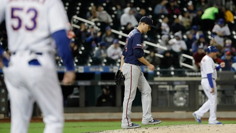 <p>               Minnesota Twins starting pitcher Jake Odorizzi (12) reacts after walking New York Mets' Noah Syndergaard to load the bases during the fifth inning of a baseball game Wednesday, April 10, 2019, in New York. (AP Photo/Frank Franklin II)             </p>