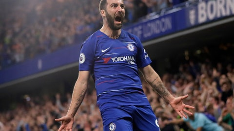 <p>               Chelsea's Gonzalo Higuain celebrates scoring his side's second goal during the English Premier League soccer match between Chelsea and Burnley at Stamford Bridge stadium in London, Monday, April 22, 2019. (AP Photo/Kirsty Wigglesworth)             </p>