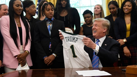 <p>               President Donald Trump holds up a jersey that was presented to him as he welcomed members of the Baylor women's basketball team, who are the 2019 NCAA Division I Women's Basketball National Champions, to the Oval Office of the White House in Washington, Monday, April 29, 2019. (AP Photo/Susan Walsh)             </p>