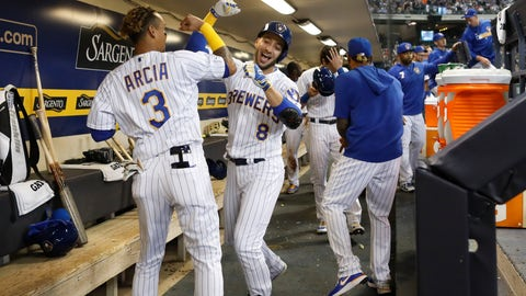 <p>               Milwaukee Brewers' Ryan Braun (8) celebrates with Orlando Arcia after his three-run home run against the Chicago Cubs during the second inning of a baseball game Friday, April 5, 2019, in Milwaukee. (AP Photo/Jeffrey Phelps)             </p>