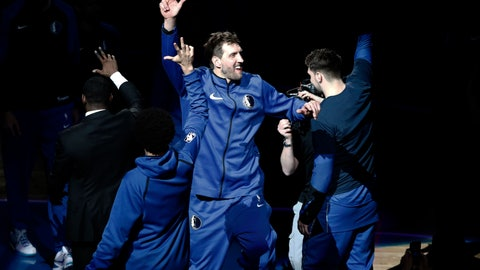 <p>               Dallas Mavericks' Dirk Nowitzki (41) is introduced for the team's NBA basketball game against the Phoenix Suns in Dallas, Tuesday, April 9, 2019. (AP Photo/Tony Gutierrez)             </p>