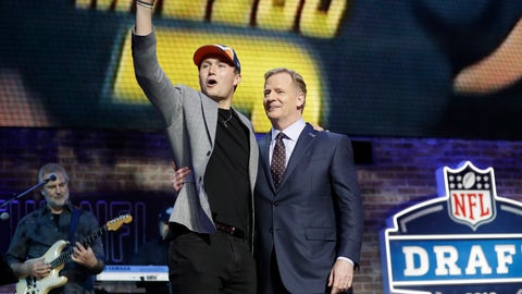<p>               Missouri quarterback Drew Lock poses with NFL Commissioner Roger Goodell after the Denver Broncos selected Lock in the second round of the NFL football draft, Friday, April 26, 2019, in Nashville, Tenn. (AP Photo/Mark Humphrey)             </p>